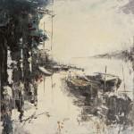 Cavane con barche - olio su tavola cm 50x40